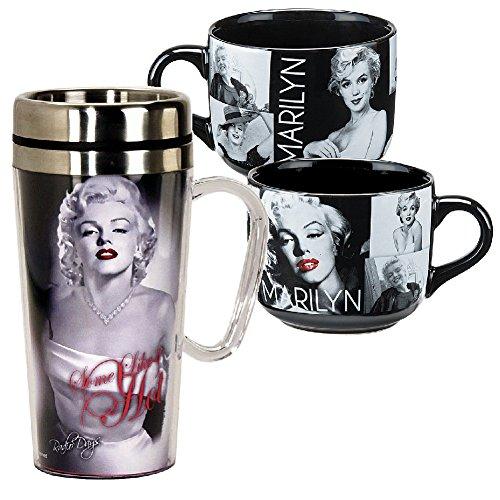 B&W Marilyn Monroe Travel Mug w/ Handle and Portrait Mega Soup Mug Set (Marilyn Monroe Cup compare prices)