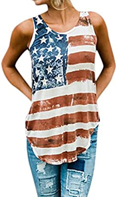 7f411a555a9 Amazon.com  YJYDADA Women American Flag Loose 4th Of July Sleeveless T-shirt  Tops Blouse Plus Size (S)  Arts