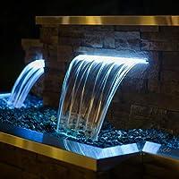 Cuchilla de Agua Cascada de acrílico de 60 cm de Ancho con LED ...