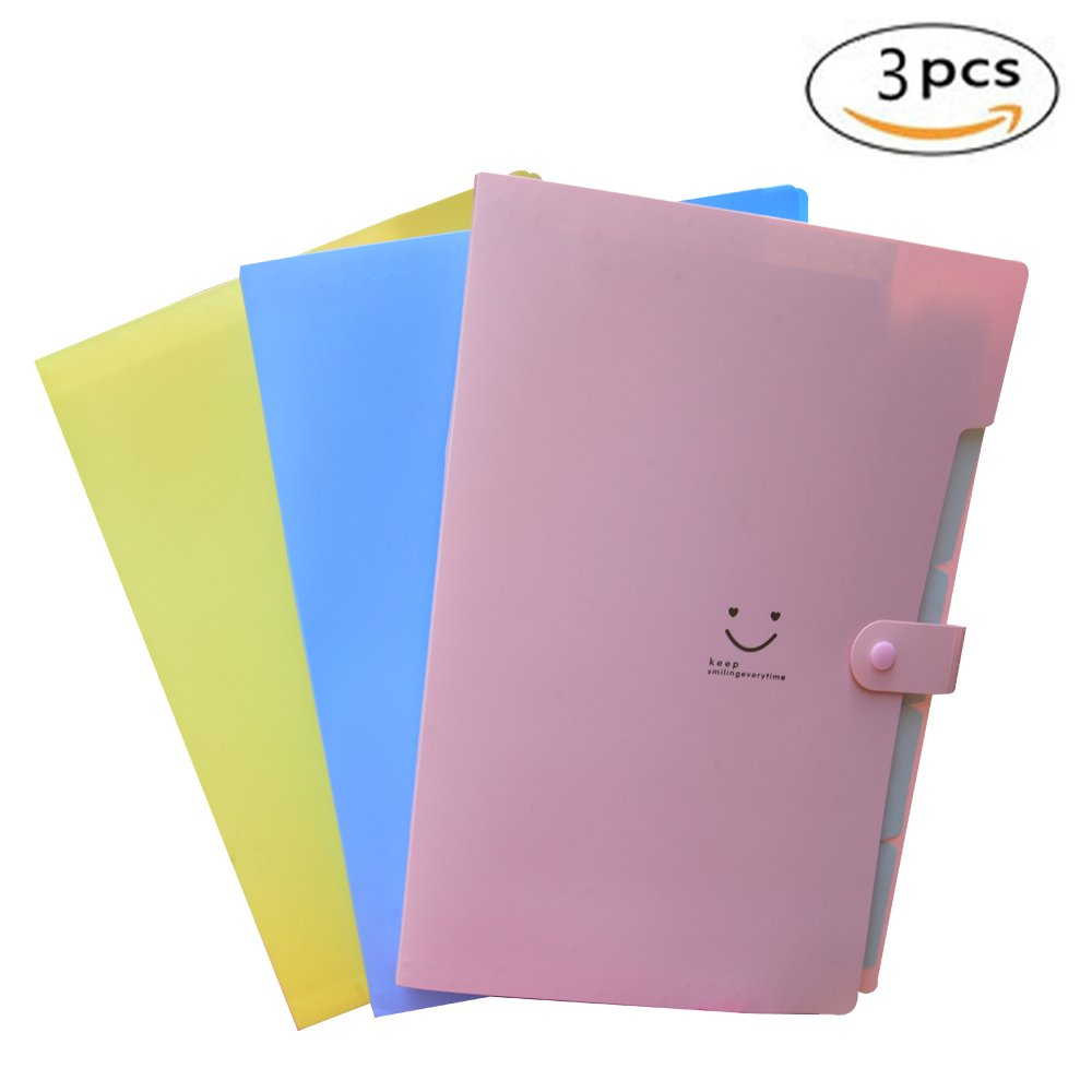 5 Pockets Portable File Folders, A4 Expanding Document Folder, Plastic Accordion Document Organizer for School and Office (Pink+Yellow+Blue)