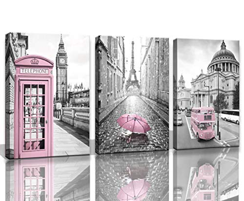 Eiffel Tower Decor for Bedroom for Girls Paris Decor Pink Paris Theme Room Decor Wall Art Canvas Black and White Art Eiffel Tower Picture Decorations London Big Ben Tower Eiffel Tower Painting Framed (Decor Ideas For Bedroom Black And White)