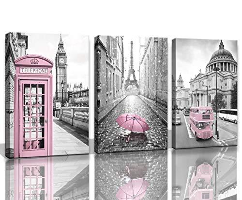Print Art Poster Paris - Eiffel Tower Decor for Bedroom for Girls Paris Decor Pink Paris Theme Room Decor Wall Art Canvas Black and White Art Eiffel Tower Picture Decorations London Big Ben Tower Eiffel Tower Painting Framed