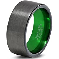 Chroma Color Collection Tungsten Wedding Band Ring 8mm for Men Women Green Black Gunmetal Flat Pipe Cut Brushed Polished