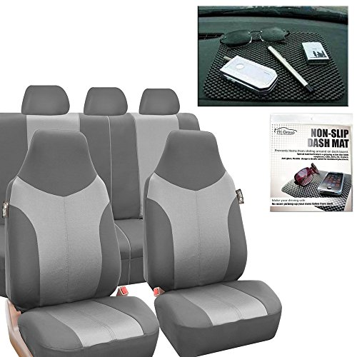 FH GROUP FH-FB101115 Supreme Twill Fabric High Back Seat Covers Light /Dark Gray (Airbag Ready and Split) W. FH1002 Non-Slip Dash Pad-Fit Most Car, Truck, Suv, or Van