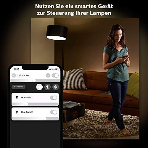 Philips Hue White E27 3-er Starter Set ink. Smart Button, dimmbar, warmweißes Licht, steuerbar via App, kompatibel mit Amazon Alexa (Echo, Echo Dot)