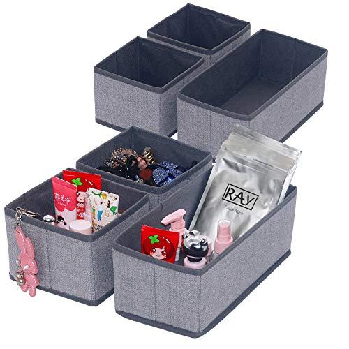 Onlyeasy Set of 6 Soft Fabric Dresser Drawer Bins, Clothing Closet Storage Organizer for Kids/Toddler Room, Nursery, Playroom, Linen-Like Grey Print, MXDS3P2