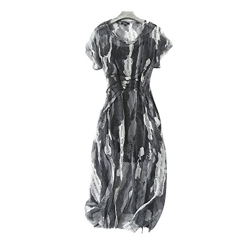 MORAN Fashion ladies summer printing silk pleated skirt Long dress+ camisole (S) by MORAN