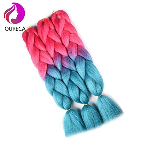 2 Tone Ombre Jumbo Braiding Hair Extention High Temperature Kanekalon Synthetic Braiding Crochet Twist Hair Braids With Small Free Gifts 24inch 3pcs/lot(Pink/Lake -