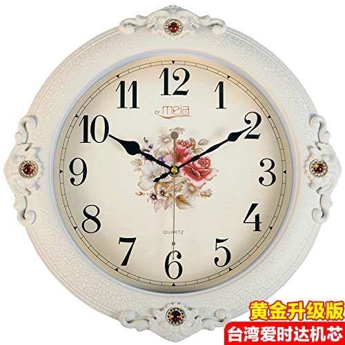 FortuneVin Wall Clock Non-ticking Number Quartz Wall Clock Living Room Decorative Indoor Bedroom Kitchen 16 In Silent, Wall Table Creative Quartz16 India40.5Cm Flower White Cracks