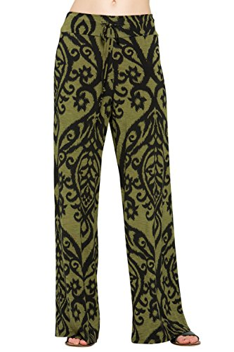 12TREES Women Floral Print High Drawstring Waist Wide Leg Palazzo Pants Plus Size