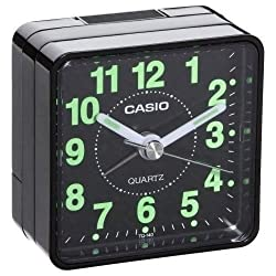 Casio TQ-140-1EF TQ140 black travel quartz alarm clock Illuminous hands numbers ;FW892HJT23T420742