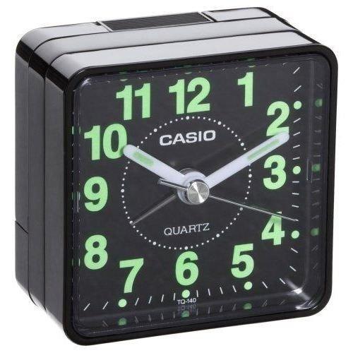 (Casio TQ-140-1EF TQ140 black travel quartz alarm clock Illuminous hands numbers ;FW892HJT23T420742)