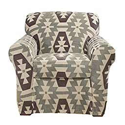 Sure Fit Stretch Kilim - Chair Slipcover  - Gray (SF45200)