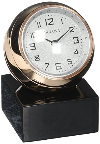 Bulova B5015 Sphere Table Clock, Polished Rose Gold/Tone Finish, Black Base