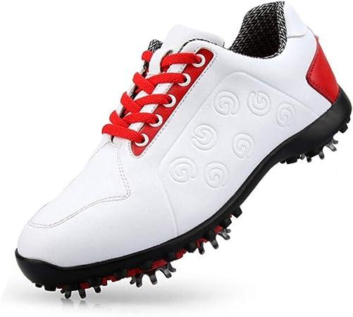 FJJLOVE Zapatos del Golf De Las Mujeres, A Prueba De Agua Spikes Campo De La Zapatilla De Deporte del Cuero Antideslizante Recorrer Ocasional De Zapatos,39: Amazon.es: Hogar