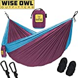wwww Hammock for Camping - Single & Double Hammocks Gear For The Outdoors Backpacking Survival or Travel- DO Fuchsia & Sky Blue- DoubleOwl