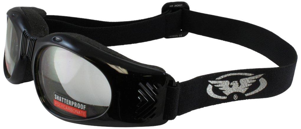 AIRJACKSM Black Frame//Smoke Lens Global Vision Air Jacket Slimline Motorcycle Goggles