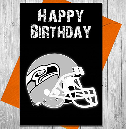 AKGifts American Football NFL Birthday Card Seattle Seahawks - Unique Chalkboard Effect Greeting Card (7 - 10 BUSINESS DAYS DELIVERY FROM UK) (Gift Delivery Seattle)