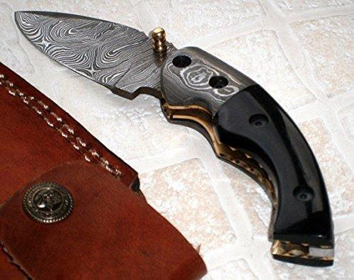 Poshland Knives FN-50 Custom Handmade Damascus Steel Folding Knife- Buffalo Horn Handle For Sale