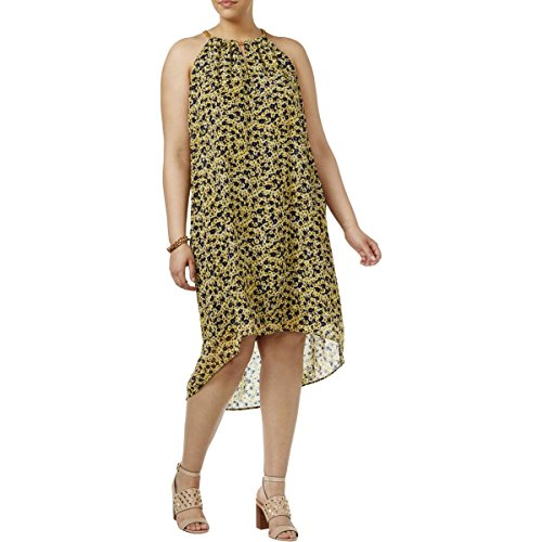 Chain Print Halter - Michael Michael Kors Women's Plus Size Lydia Chain Neck Floral Print Halter Shift Dress, Taxi Yellow (3X)