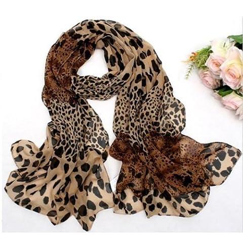 DGI MART Scarf for Ladies Girls Long Soft Wrap Shawl Leopard Chiffon Long Scarf Scarves Stole