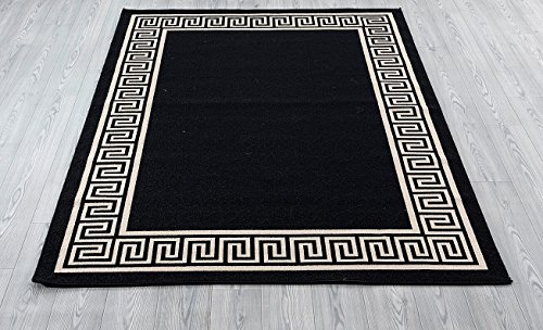 Great American Distributors Impressions Collection Greek Key Area Rug, - Black Greek Key