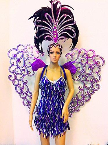 Da NeeNa Vegas Showgirl Burlesque Festival Cabaret Wings Heart Costume Set (Costumes Vegas)