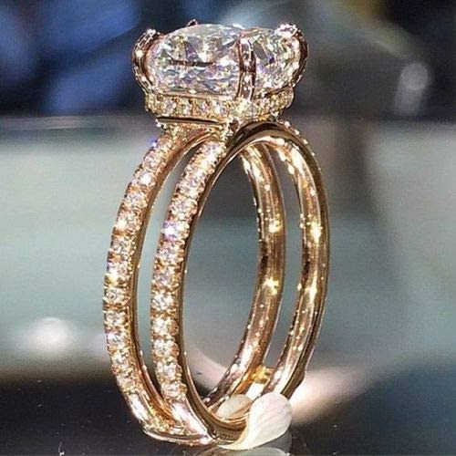 Exquisite Rose Gold Filled Princess White Sapphire Ring Wedding Bridal Jewelry