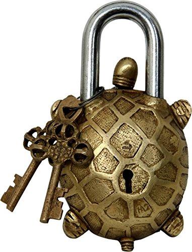 Brass Padlock - Lock with Keys - Working Functional - Brass Made - Type : (Tortoise - Brass Finish)