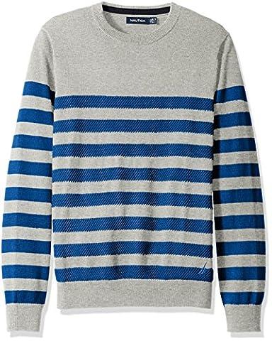 Nautica Men's Breton Stripe Sweater, Grey Heather, M - Breton Stripe