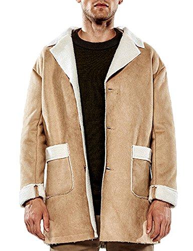 Zuckerfan Men's Casual Retro Winter Warm Lapel Fuax Suede Single-Breasted Coat Fleece Lined (Long Jacket Suede Coat Winter)
