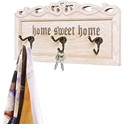 MyGift Vintage Whitewashed 'Home Sweet Home' Wall-Mounted Key Rack w/ 3 Dual Hooks