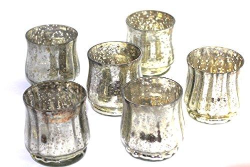 Vintage Mercury Glass hurricane votive - set of 6 (Mercury Glass Candle Holder)