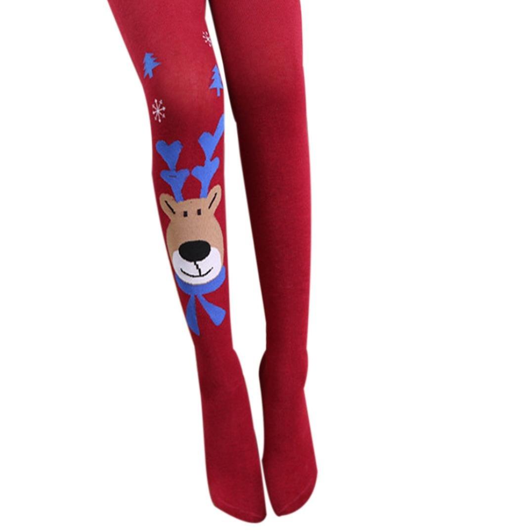 Tenworld Kids Girl Elasticity Tights Soft Christmas Elk Print Socks Pantyhose Tenworld-baby leg warmers
