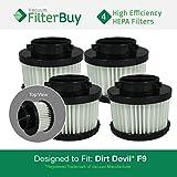 4 - FilterBuy Dirt Devil F-9 (F9) HEPA Replacement Filters, Part #'s 2DJ0360000 & 3DJ0360000. Designed by FilterBuy to fit Dirt Devil Purpose for Pets M0105 Handheld Vacuum