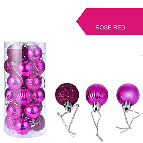 24Pcs Christmas Ball Ornaments,Gallity Christmas Decorations Tree Balls Small for Holiday Wedding Party Decoration, Bauble Xmas Tree Ornaments (Hot Pink) -
