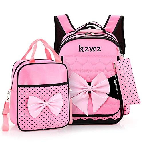 3pcs Lovely Princess Bow Waterproof School Backpack Girls Book Bag and Pencil Lunch Bag Set (Lovely Pink Bow)