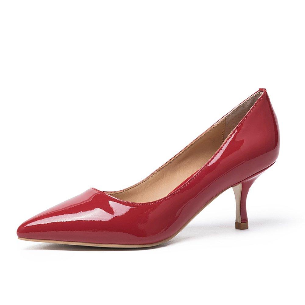 Mujer Zapatos De Kitten Aguja Tacón basicos Cuero Punta Bajo Medio Pumps Shoes Para Fiesta Oficina Boda 40 EU|Patente Rojo