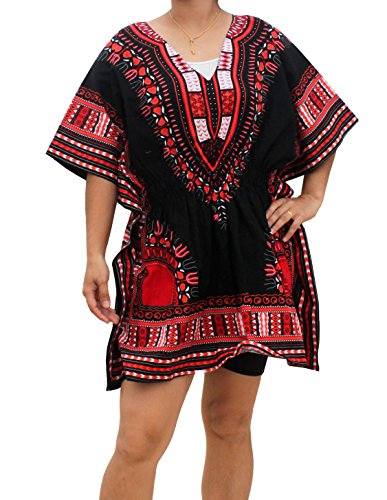 RaanPahMuang Ladies Black Dashiki Shirt Elastic Pull In Waist V-Collar, Medium, Burgundy