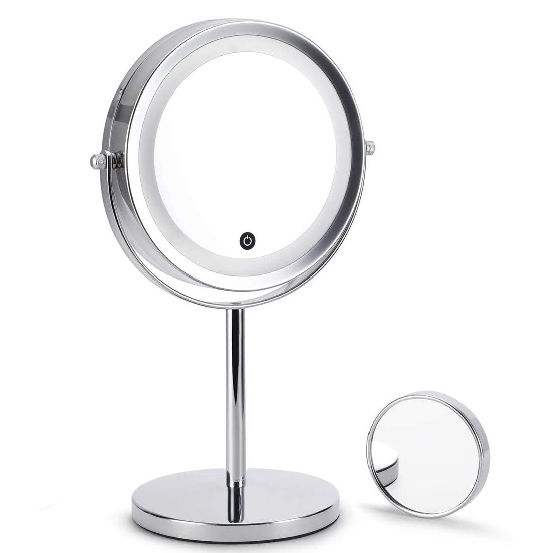Lighted makeup mirror 7 inch 5x magnifying natural Light with Touch countrol switch adjust LED lumens, with a 1x 3x magnifying Portable mirror for home Travel