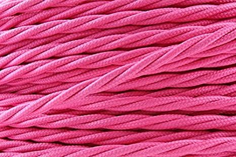 5 Meters 3 Core Round Shiny Pink Italian Vintage Coloured_ 0.75mm_ Braided Fabric Flexible Electrical Cable_ hight quality_UK Lighting_Wire_Cable (3 Core Round, Shiny Pink) LED Sone