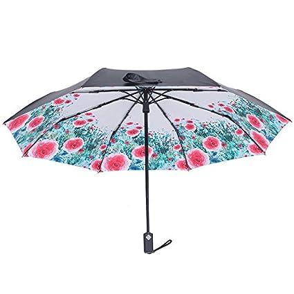 JUZHIJIA Paraguas Negro De Plástico Protección Solar Plegado Automático De Paraguas Sombrillas Protección UV (60