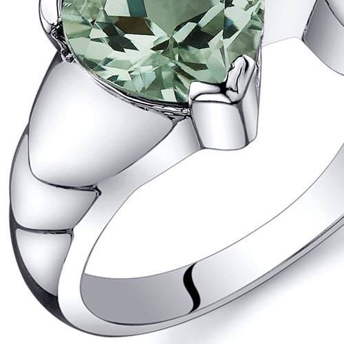 Green Amethyst Love Knot Ring Sterling Silver Rhodium Nickel Finish 1.50 Carats Size 8