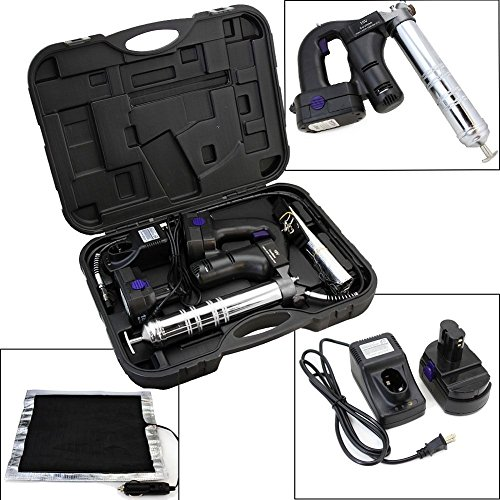 GHP 10000PSI 3-Position Cordless Grease Gun Kit w Thermal Warmer & 42'' Flexible Hose by Globe House Products