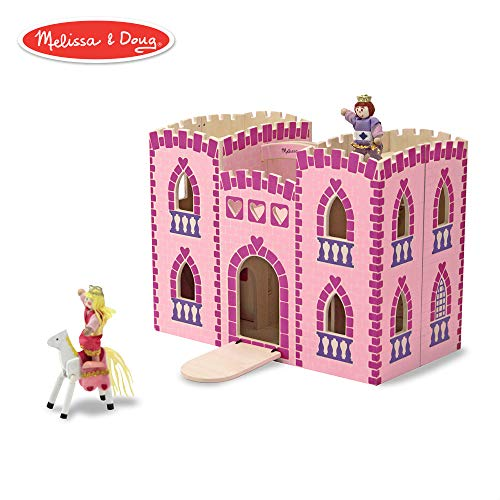 Melissa & Doug Fold & Go Wooden Princess Castle (Pretend Play Pink Dollhouse, 2 Royal Play Figures, 2 Horses, Furniture)