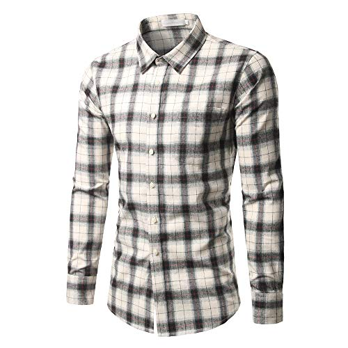 - Mens Long Sleeve Tops,Cinsanong Checked New Casual Plus Size Tee Shirts Self-Cultivating Loose Shirt