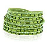 Chuvora Suede Leather and Green Crystal Class Studded Wide Band Multi-Strand Wrap Bracelet