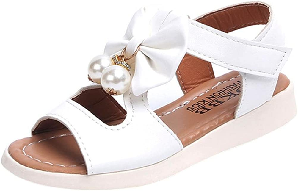 White B, 11 M US Little Kid Axinke Kids Girls Fashion Summer Flat Princess Sandals Shoes with Bowknot