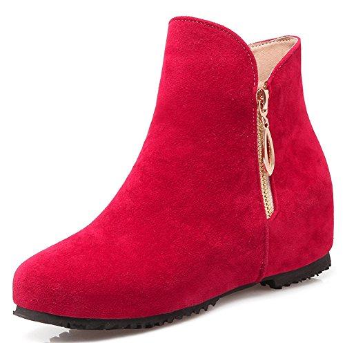 IDIFU Womens Sweet Round Toe Low Wedge Heels Hidden Side Zip Up Ankle Boots Booties Red J7vtPZ9w