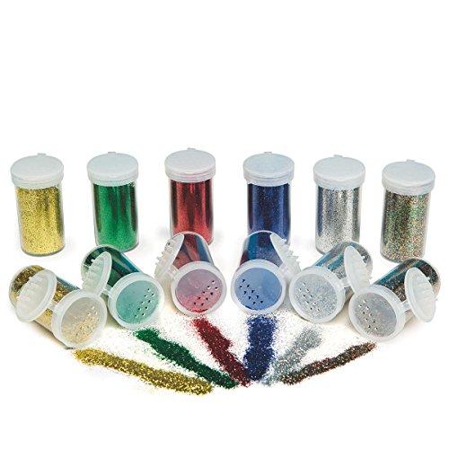S&S Worldwide Color Splash! Glitter Bulk Pack, Basic Colors (pack of 12) Ss Glitter